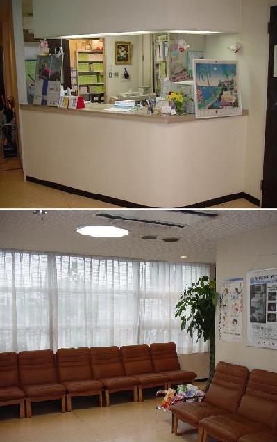 明るい受付 ・広い、ゆとりの待合室